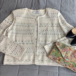 St John Evening Sequin Cream Knit Button Cardigan